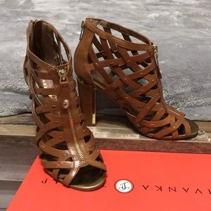 Ivanka Trump brown and gold heels.